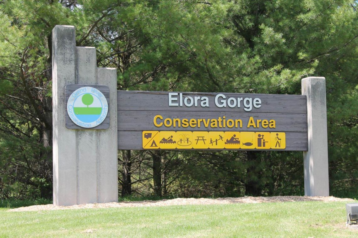 Front gate sign of the Elora Gorge Conservation Area, operated by the Grand River Conservation Authority.